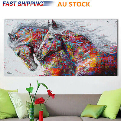 75*150cm Colourful Running Horse Oil Canvas Print Painting Wall Home Decor Art