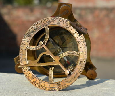 Antique Vintage 4'' Brass Sundial Compass Nautical Decor From West London
