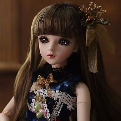 1/3 BJD Doll Ball Jointed Girl Dolls Free Eyes Face Makeup Wig Clothes Set GIFT