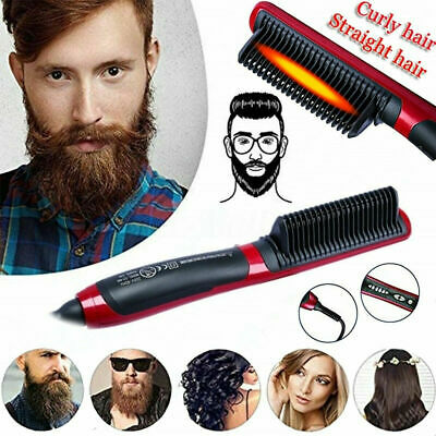 Electric Quick Heated Beard Straightener Brush Hair Comb Curling Curler Show 5y