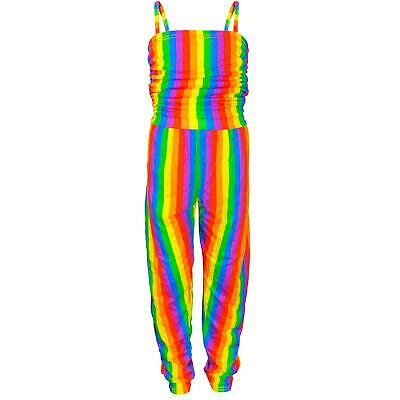 Kids Girls Rainbow Jumpsuits All In One Summer Wear Play Suits Dance Party Dress