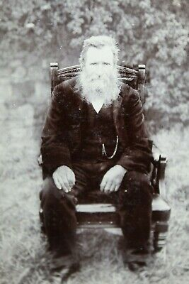 Cabinet Card Photo - Banks - Willenhall - Bearded Gent Antique Chair Outdoors