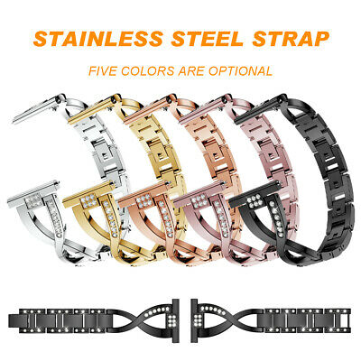 For Fitbit Versa Crystal Bracelet Band Stainless Steel X Metal Wrist Band Strap