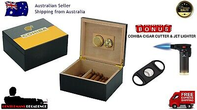 50+ Count Cohiba Cigar Humidor Black Edition  Bonus Cutter & Lighter