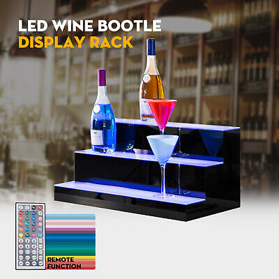 "24"" 3 Step Tier LED Lighted Back Bar Glowing Liquor Bottle Display Shelf Stand"
