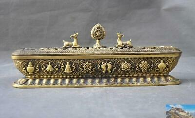 Tibet Tibetan Buddhism brass Eight treasures deer statue Incense burner Censer
