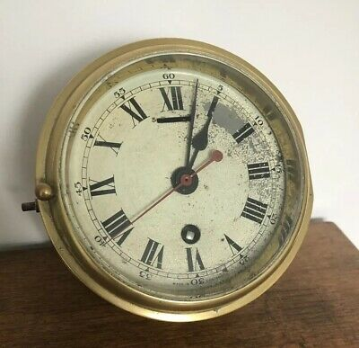 Rare Antique Gpo Post Office Smiths Astral Brass Cased Bulkhead Ships Clock