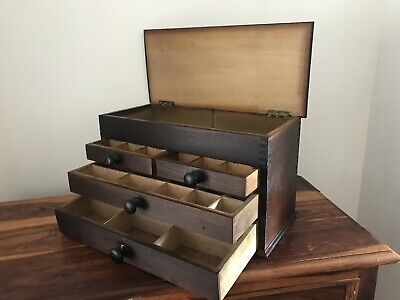 Antique Wooden Engineers Tool Box , Watchmakers Case , Cabinet Collectors Chest