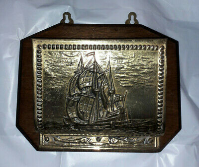 Vintage Wood and Brass Letter Rack, Peerage, Made in England, Sailing Ship Scene