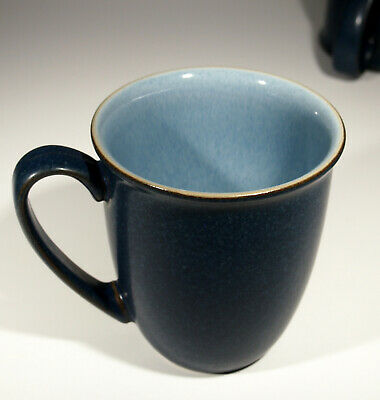 DENBY Blue Jetty Discontinued Coffee Mug / Beaker 12 ozs -Set of 4 -VG condition