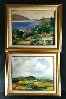 Matching Pair Framed Original Oil On Canvas Mountain Landscape Paintings EXC