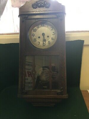 Vintage Art Deco chime pendulum wall clock 50's Spares And Repair Only