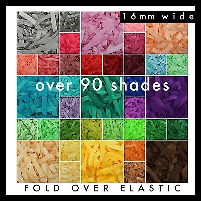 "Solid Colour Fold Over Elastic FOE 5/8"" 16mm per metre volume discount colours"