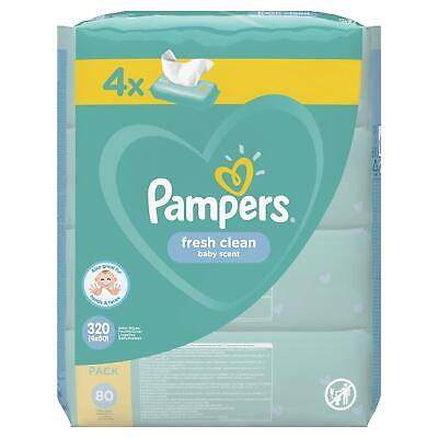Pampers Baby Changing Wipes Hygienic Fresh Clean Scent Disposable, 320 Mega Pack