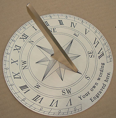 Personalised Garden Sundial, Finely Engraved Brass. 20cm Round Your Own  Wording