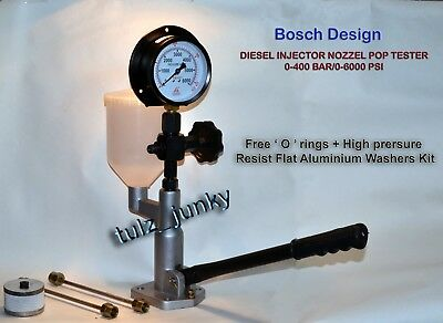 Diesel Injector Nozzle Pop Tester Dual Scale 420 Bar 6000 Psi + Long Tube Set