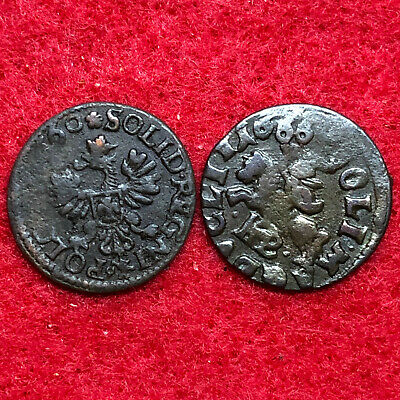 1660 and 1666AD King of Medieval King of Poland lot of 2