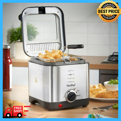 Small Compact Deep Fat Fryer Chip 1.5L Stainless Steel Non Stick Pan Electric
