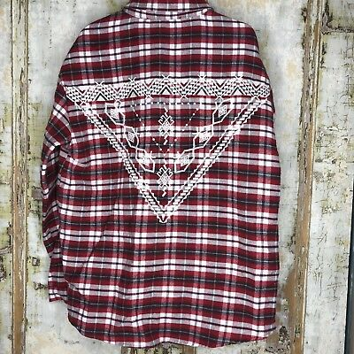 Zara Girls Casual Collection Aztec Plaid Blouse Size 5 Embroidered L/S Red BNWT
