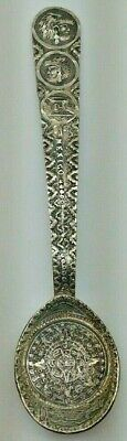 Sterling .925 Mexico Spoon with Native Aztec Figural Heads - STUNNING!