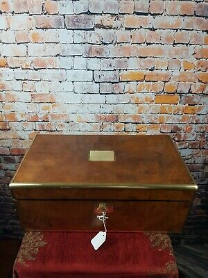 Antique Figured Walnut & Brass Campaign Style Writing Slope, Original Keys& Inkw
