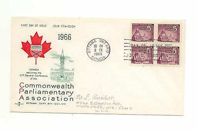 Canada FDC #450 Parliament Scarce Block of 4 1966 F201