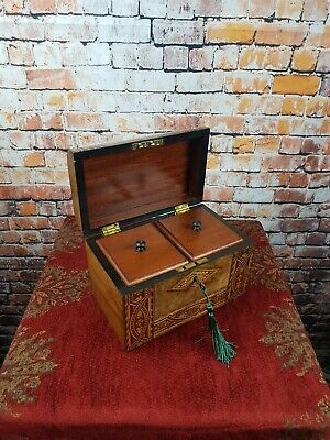 Victorian Inlaid Tunbridge Ware Burr Walnut Tea Caddy- Orig.interior- Lock & Key