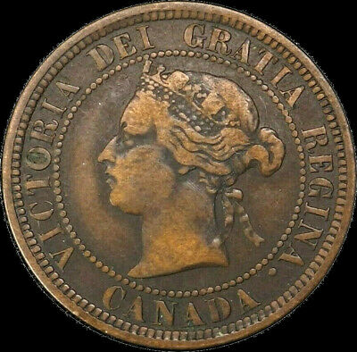 1882 H Canada Large Cent 1C Queen Victoria Key Date Better Grade VG F