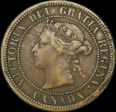 1876 H Canada Large Cent 1C Queen Victoria Key Date Better Grade VF