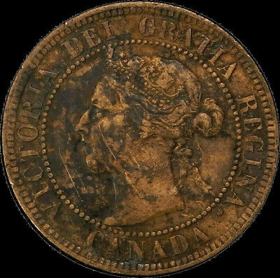 1899 Canada Large Cent 1C Queen Victoria Key Date VF Repunched 9