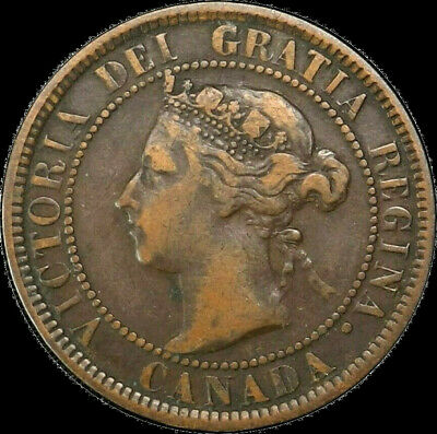 1901 Canada Large Cent 1C Queen Victoria Key Date Better Grade F VF