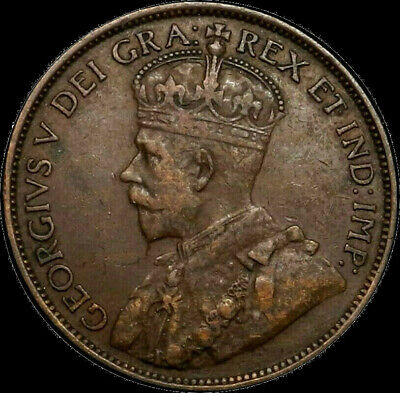 1913 Canada Large Cent 1C George V Key Date Better Grade F+