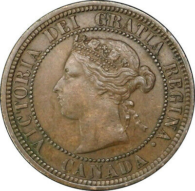 1876 H Canada Large Cent 1C Queen Victoria Key Date XF Repunched REV