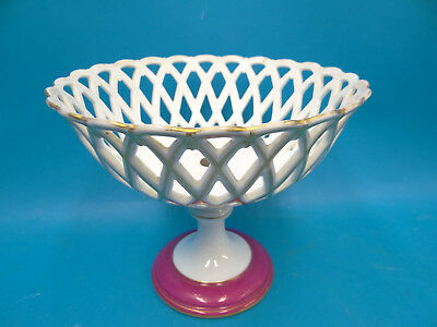 Antique Porcelain White Pink Lace Pattern Display Bowl Centerpiece Decorative