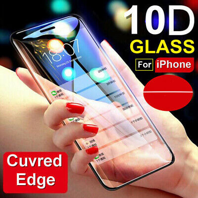 For IPhone X XS MAX XR 8 7 6 10D Full Cover 9H+ Tempered Glass Screen Protector