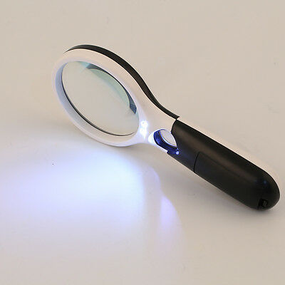 3-LED Light 45X Handheld Magnifier Reading Magnifying Glass Jewelry Loupe NJ