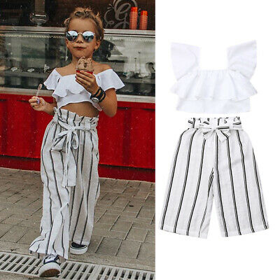 Toddlers Kids Baby Girls Clothes Ruffle Tops Long Pants 2PCS Outfits Set 2-7Y AU