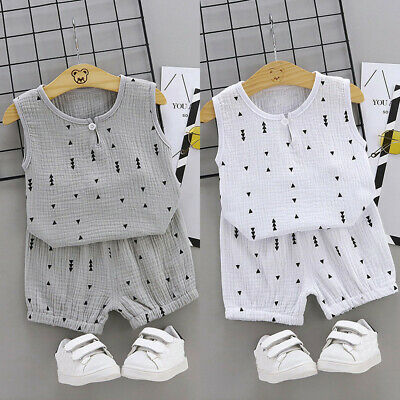 Summer Infant Baby KidS Boys Girls Geometric Print Tops + Shorts Outfit Set