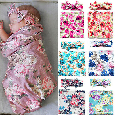 AU Infant Baby 100%Cotton Swaddle Blanket Sleeping Swaddle Muslin Wrap+Headband