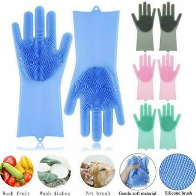 1Pair Magic Silicone Rubber Dish Washing Gloves Scrubber Cleaning Brush Kit H0S4