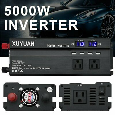 4000W/5000W Car Power Inverter DC 12V To AC 110V Charger Converter w/USB Port