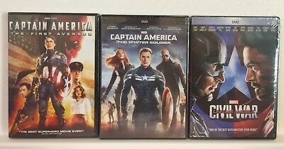 Captain America: The First Avenger, Winter Soldier, & Civil War DVDs (Free Ship)