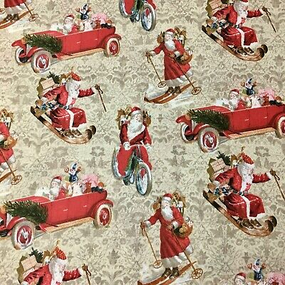 Christmas Santa Sleigh Vintage Holiday Sewing Quilting Fabric FQ