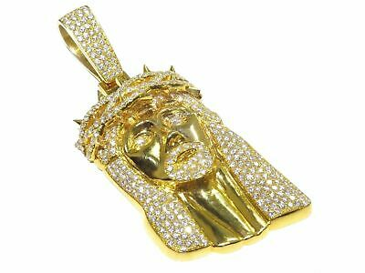 Jesus Face Piece Pendant Charm 10k Real Yellow Solid Gold 1.50 Carat Diamond