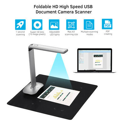 Aibecy Foldable HD Book Image Document Camera Scanner 15 Mega-Pixels with LED