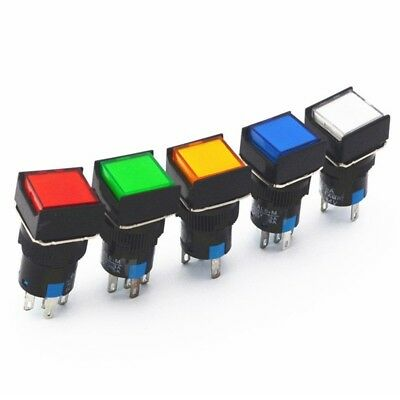 1Pcs NEW 16mm Square Momentary Push Button Switch Self-Lock LED Lamp 5 Pins Hot