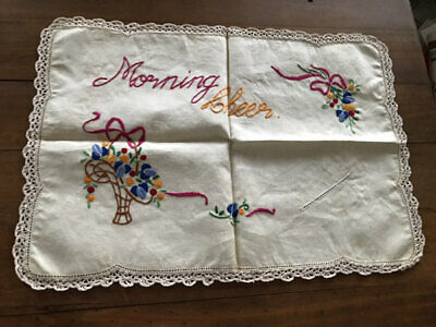 Vintage Linen Embroidered Floral *Morning Cheer* Mat. Unused.