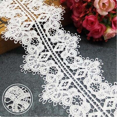 1yd Water Soluble Flower Lace Trim Ribbon Applique Embroidered Sewing Craft DIY