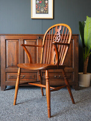 Antique 19th Century Elm & Fruitwood Wheel-back Country Elbow Chair