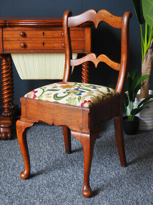 Antique 19th Century Oak Side Chair with Tapestry Upholstered Seat